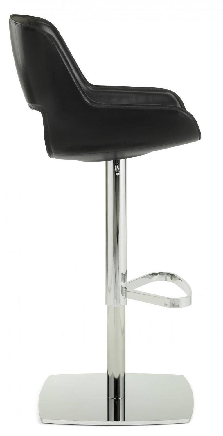 Remarkable Modern Italian Leather Bar Stool Fixed Seat Black Leather Pdpeps Interior Chair Design Pdpepsorg