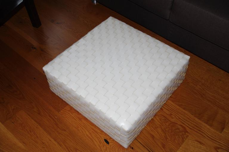 Contemporary Woven Leather Modern Italian Ottoman, Italy For Sale