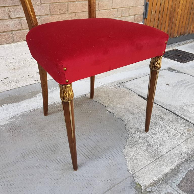 Osvaldo Borsani Dining Chairs with Brass Ornament and new Red Velvet Upholstery 6