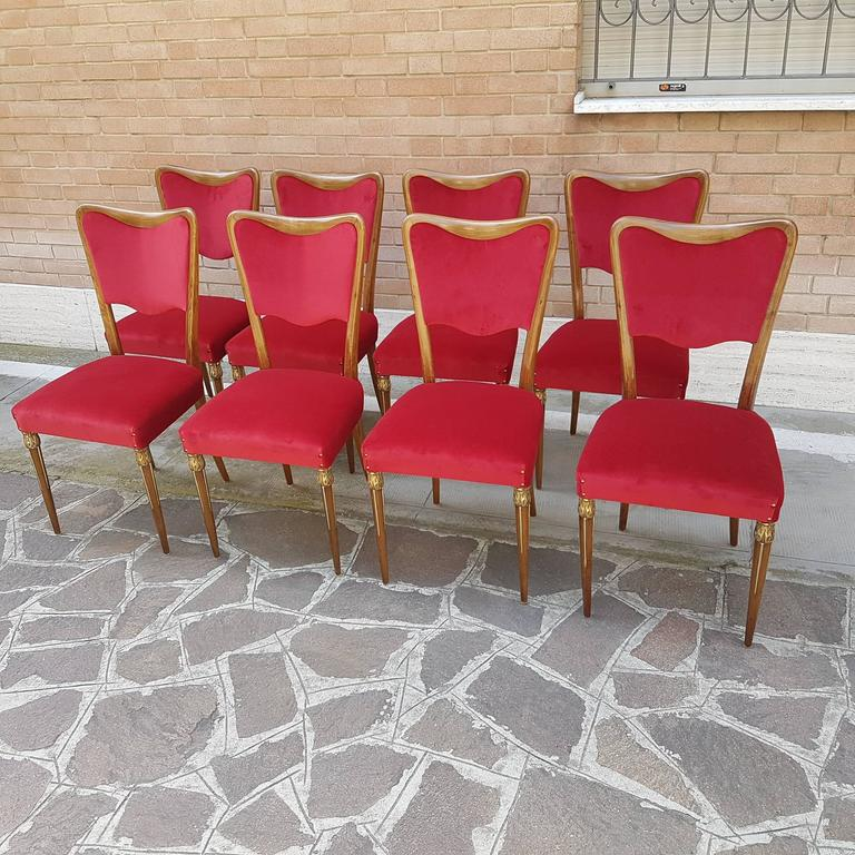 Osvaldo Borsani Dining Chairs with Brass Ornament and new Red Velvet Upholstery 7