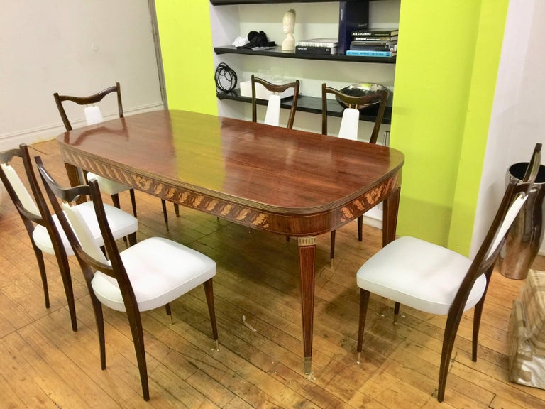 Six Italian White Leather Dining Room Chairs Mid-Century Period ...