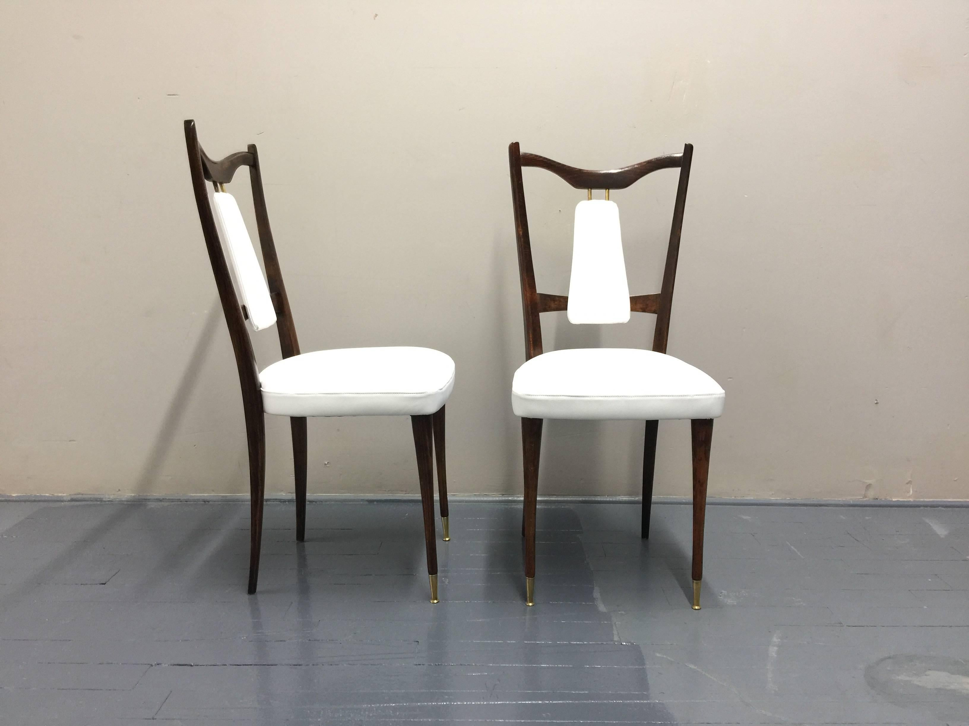 Brass Ten Italian Leather Dining Room Chairs 1960s Restored For Sale