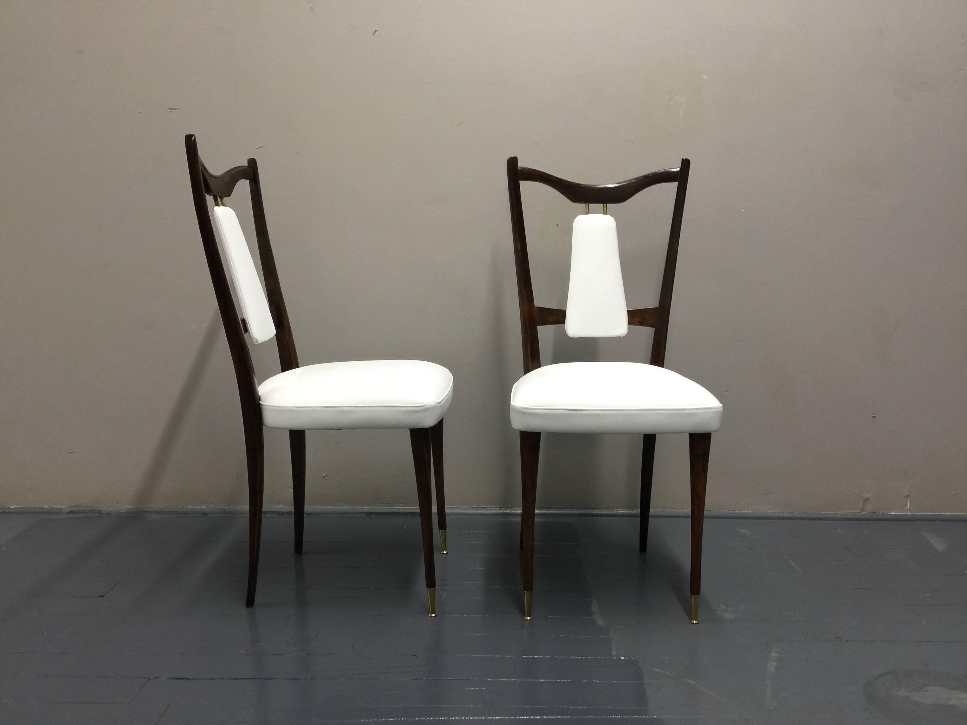 Six Italian White Leather Dining Room Chairs Mid Century Period 1960s Restored For Sale at 1stdibs