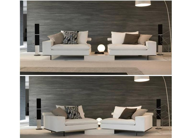 Italian Modular Sectional Sofa with Wooden Details and Bench Modern Design 4