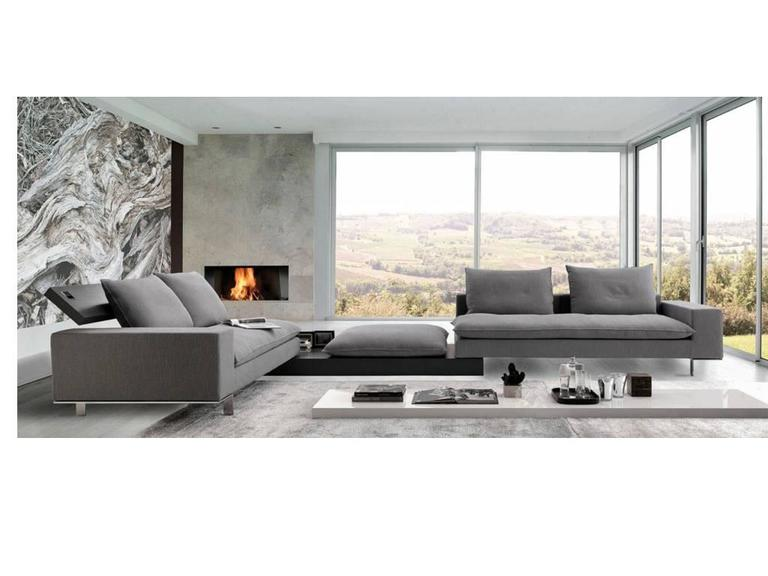 Italian Modular Sectional Sofa with Wooden Details and Bench Modern Design 2