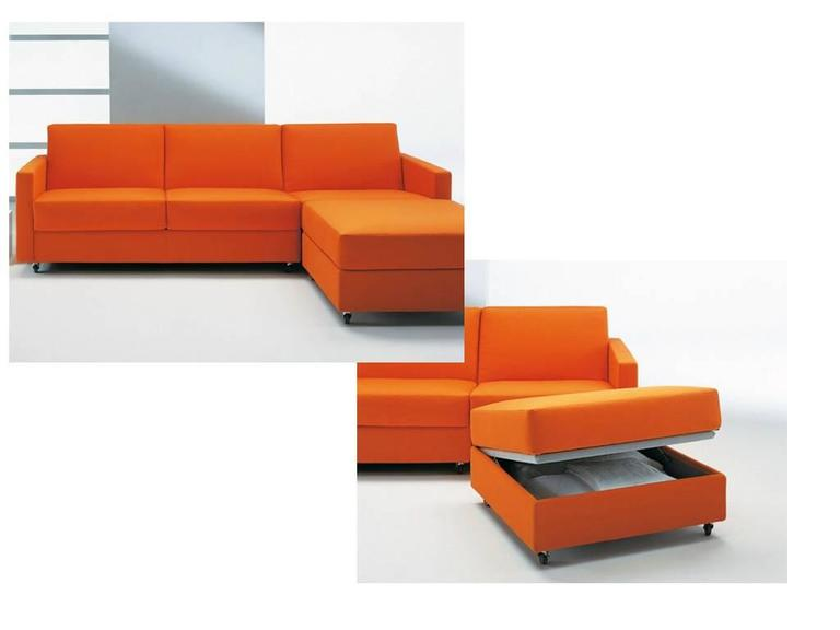 Italian Modern Sectional Sofa Bed with Storage Ottoman Made in Italy Fabric For Sale