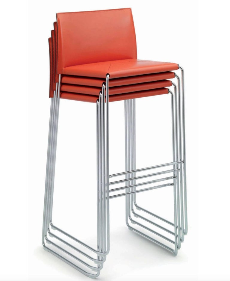 Bar Stool Italian Made Contemporary Design Leather 2
