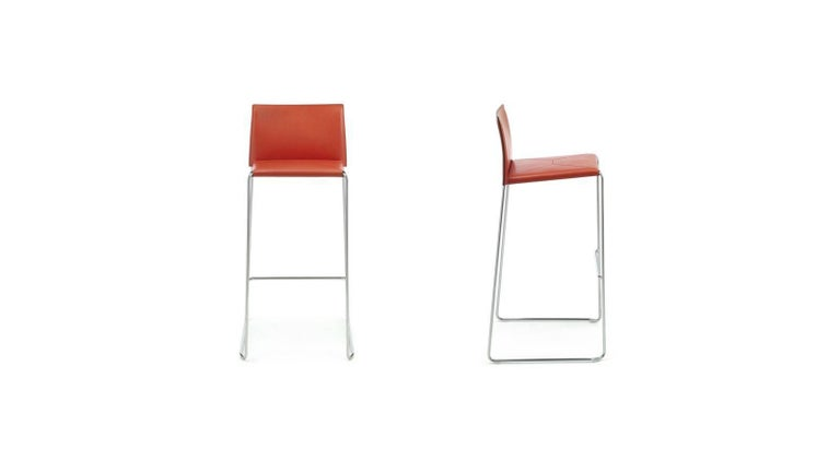 Bar Stool Italian Made Contemporary Design Leather 3