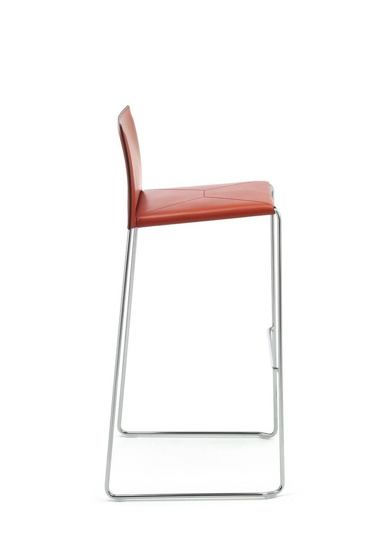 Bar Stool Italian Made Contemporary Design Leather 4