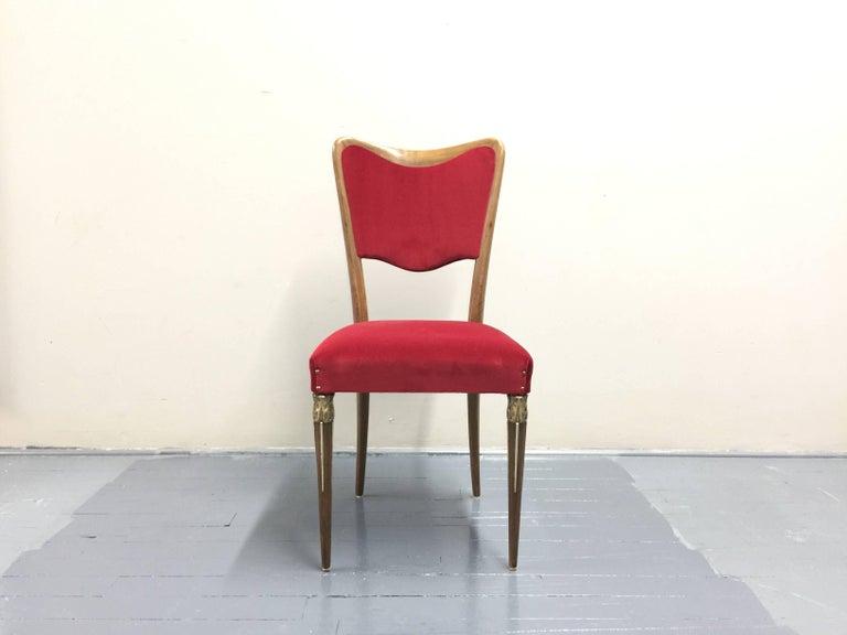 Eight Osvaldo Borsani Dining Room Chairs Restored, Red Velvet, Brass Decor In Good Condition For Sale In Jersey City, NJ