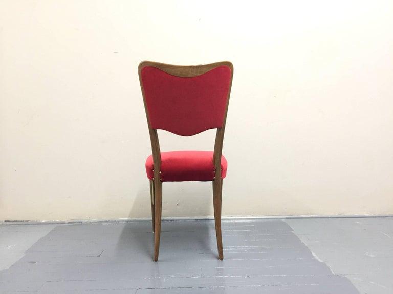 Mid-Century Modern Eight Osvaldo Borsani Dining Room Chairs Restored, Red Velvet, Brass Decor For Sale