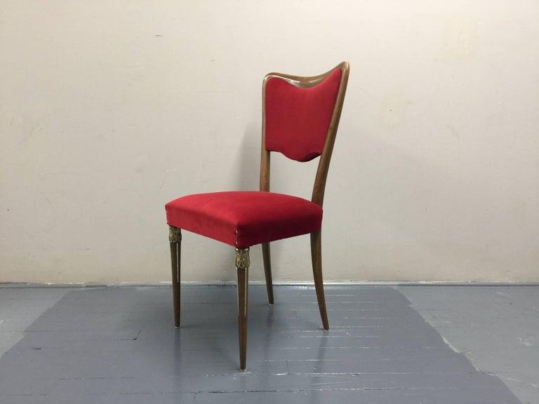 Mid-20th Century Eight Osvaldo Borsani Dining Room Chairs Restored, Red Velvet, Brass Decor For Sale