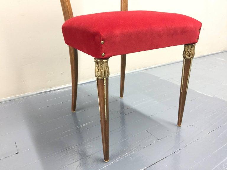 Italian Eight Osvaldo Borsani Dining Room Chairs Restored, Red Velvet, Brass Decor For Sale