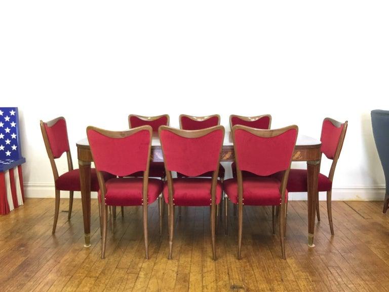 Eight Osvaldo Borsani Dining Room Chairs Restored, Red Velvet, Brass Decor For Sale 1
