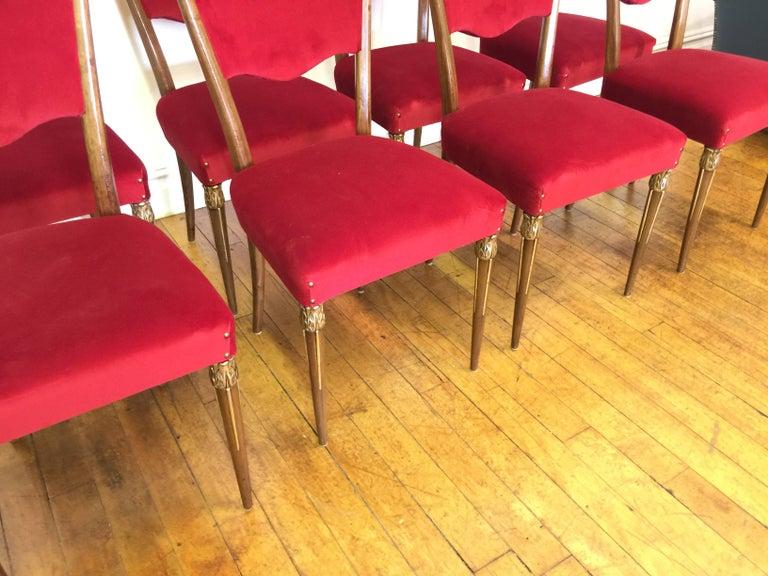 Eight Osvaldo Borsani Dining Room Chairs Restored, Red Velvet, Brass Decor For Sale 2