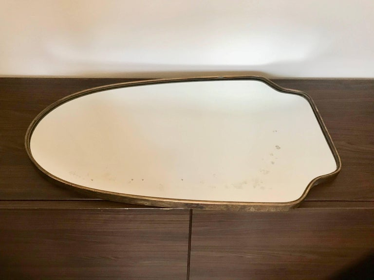 Italian Brass Frame Mirror  For Sale 1