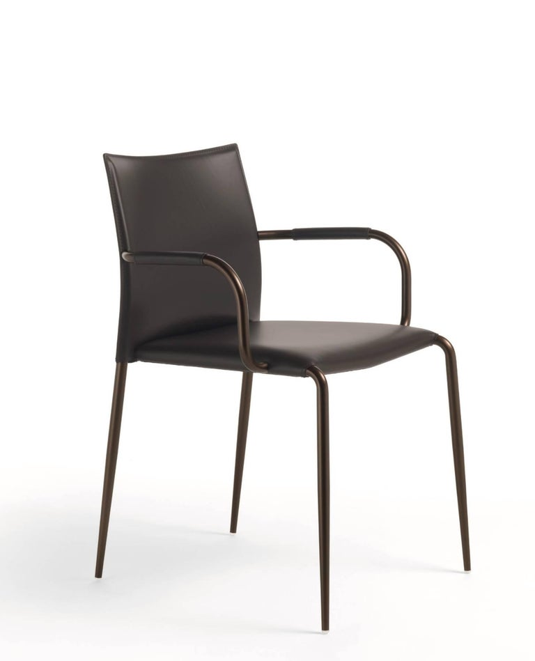 Italian dining chair leather modern design for sale at 1stdibs for Modern style dining chairs