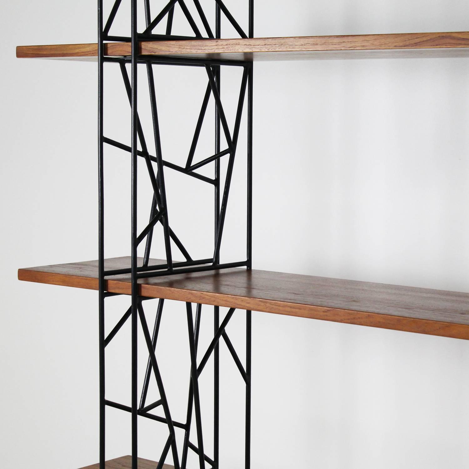 Superb img of Bookshelf with Black Metal Frame and Wood Shelves 1980 at 1stdibs with #7C4D35 color and 1500x1500 pixels