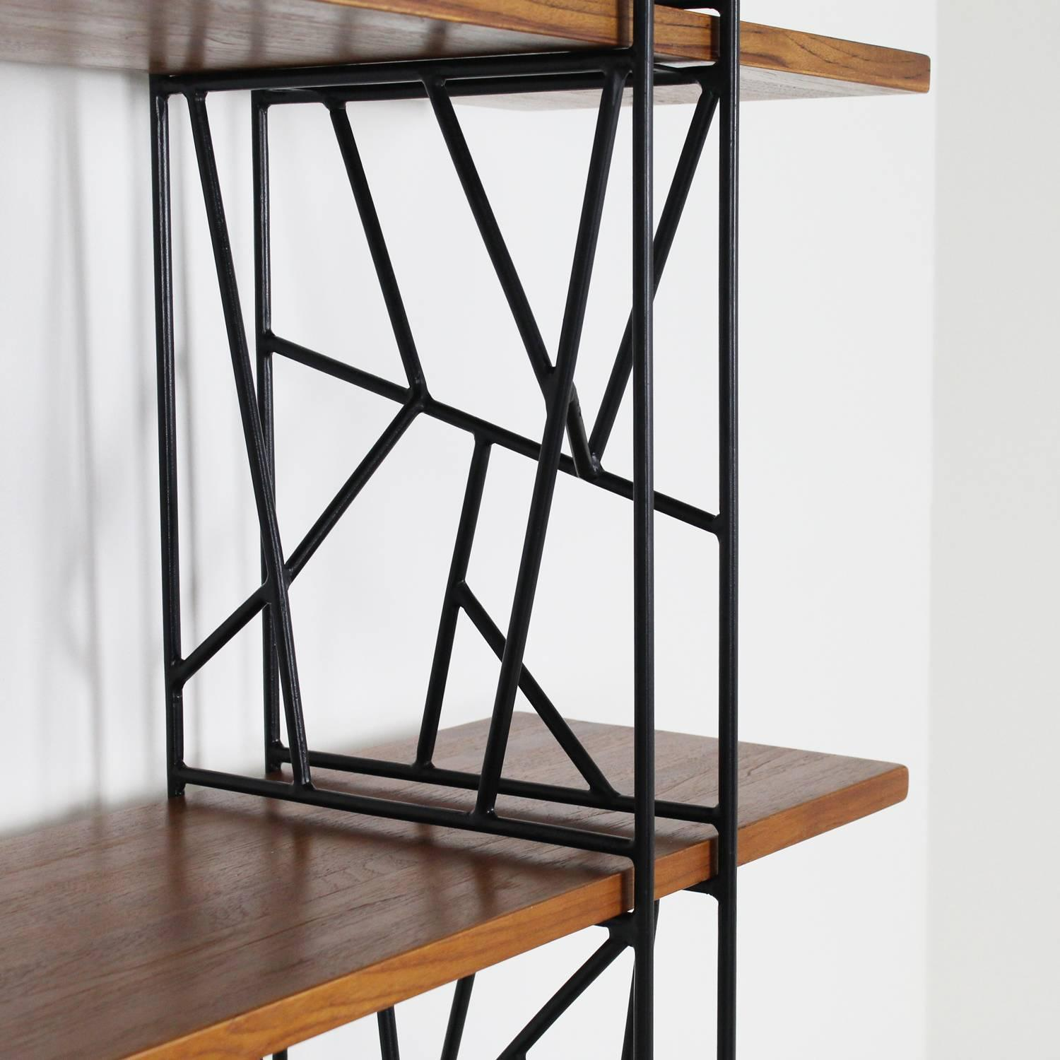 Superb img of Bookshelf with Black Metal Frame and Wood Shelves 1980 at 1stdibs with #976334 color and 1500x1500 pixels