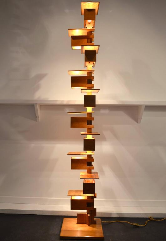 Fantastic Taliesin Frank Lloyd Wright Wood Floor Lamp At 1stdibs
