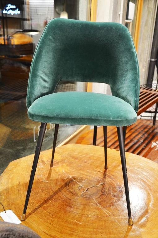 Set of 12 italian reupholstered chairs in a green velvet for Reupholstered furniture for sale