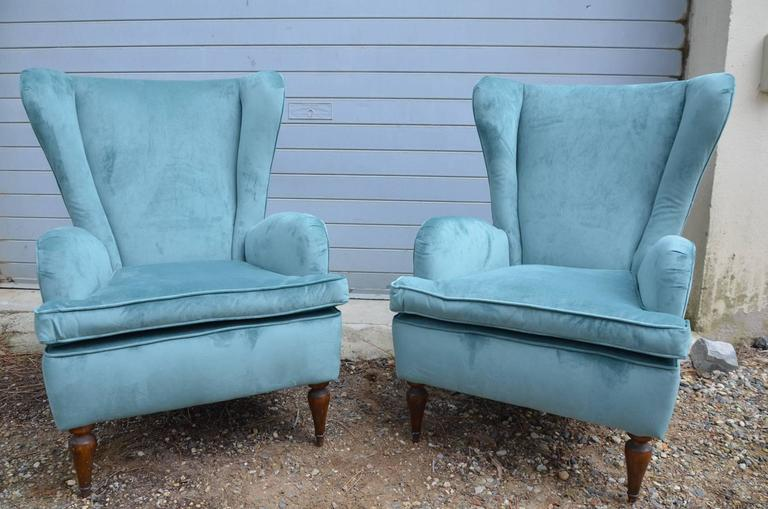 Beautiful Pair of Italian Reupholstered Armchairs in the Taste of Gio Ponti 2