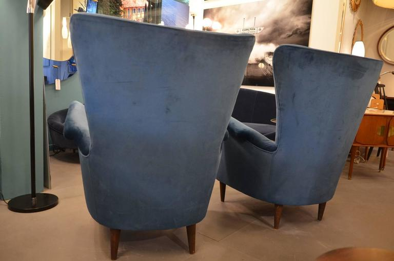 Beautiful Pair of Italian Reupholstered Armchairs in the Taste of Gio Ponti 7