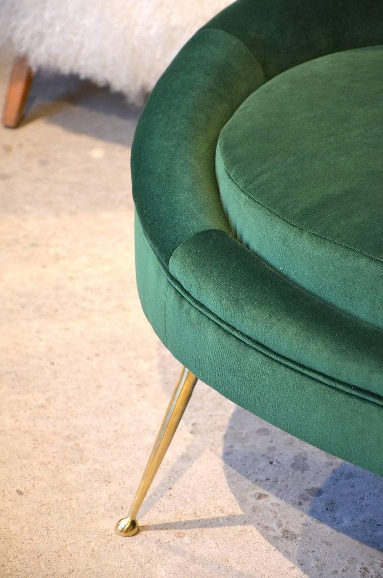 Huge Italian Green Velvet Sofa in the Style of Ico Parisi, circa 1960 3