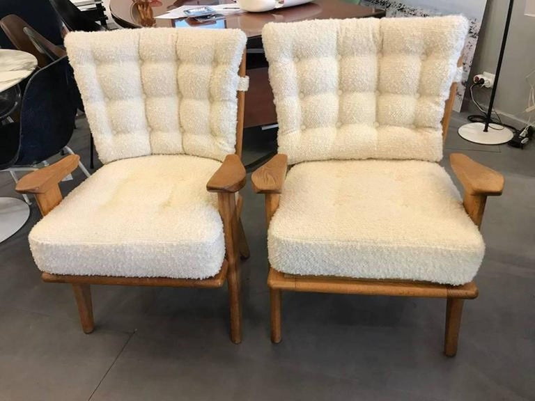 Set of Four Reupholstered Guillerme et Chambron Attributed Armchairs, circa 1960 2