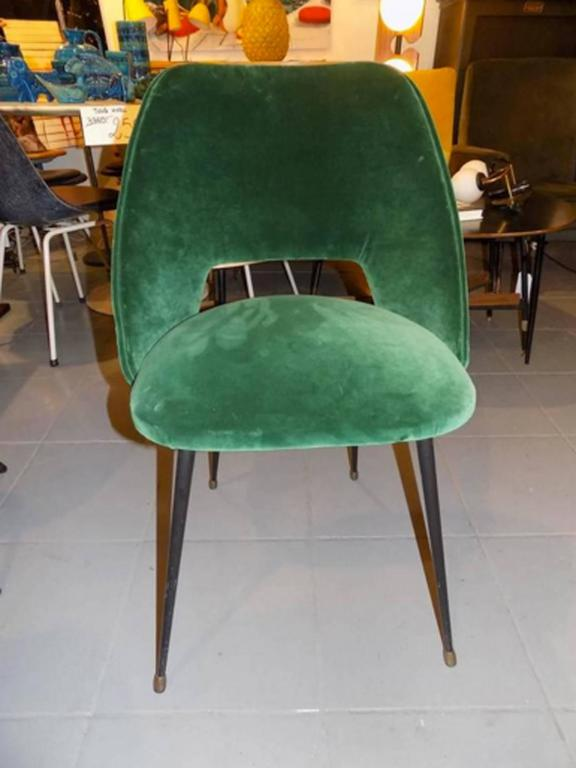 Set of four italian reupholstered chair in a green velvet for Reupholstered furniture for sale