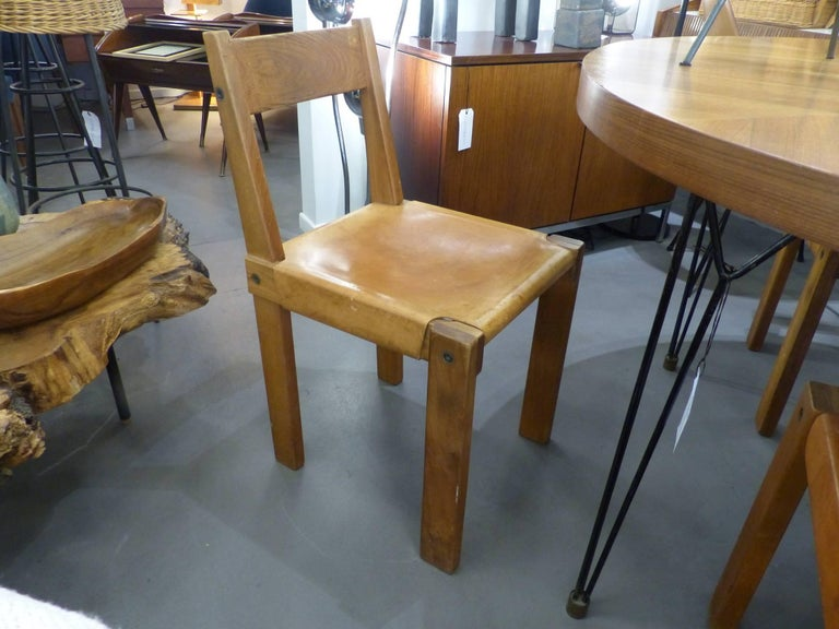 Of four chairs in oak and patinated cognac leather for sale at 1stdibs - Pierre Chapo Beautiful Set Of Six Wood And Leather Chairs
