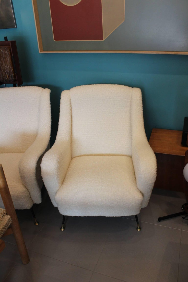 Mid-20th Century Beautiful Reupholstered Pair of Italian Armchairs For Sale