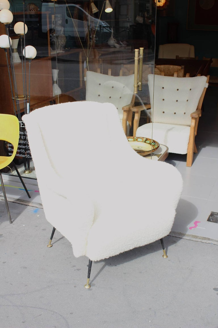 Mid-Century Modern Beautiful Reupholstered Pair of Italian Armchairs For Sale