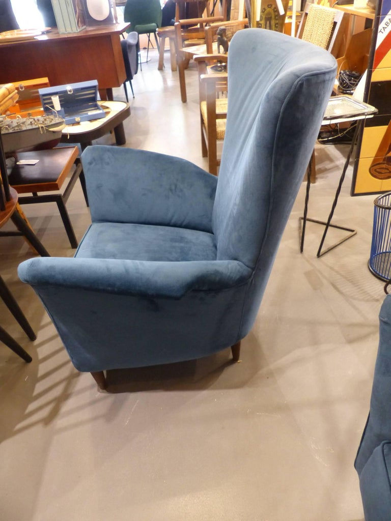 Beautiful Pair of Velvet Italian Armchairs in the Taste of Gio Ponti, circa 1960 3