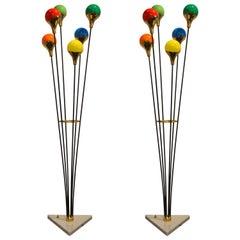 Pair of Italian Floor Lamp Alberello in Stilnovo Style