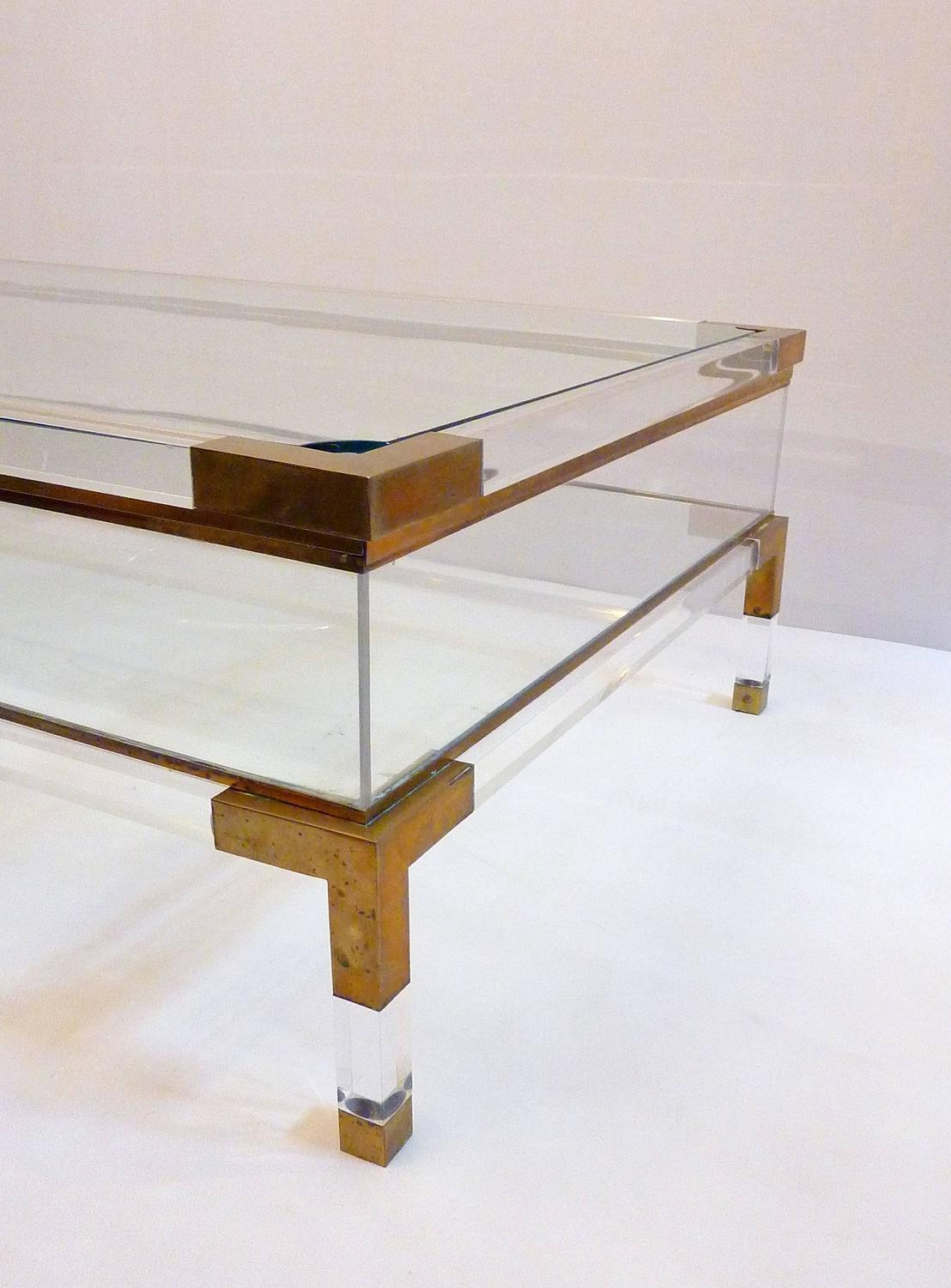 Sliding top lucite and brass coffee table by maison jansen for Lucite and brass coffee table