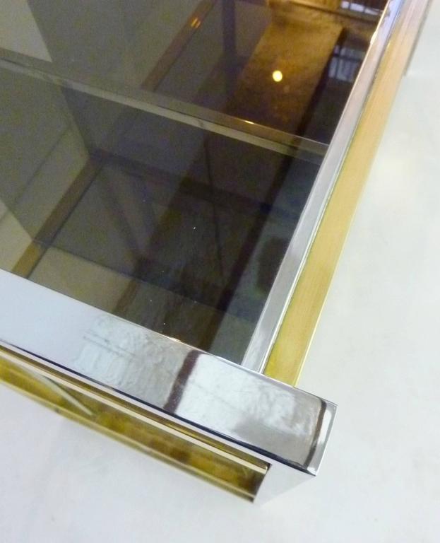 Modern Italian Console in Brass and Chrome by Serantoni & Arcangeli