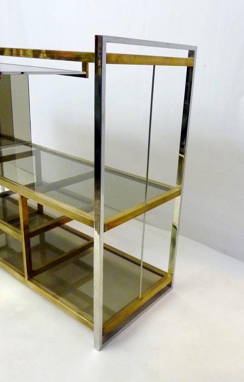 20th Century Italian Console in Brass and Chrome by Serantoni & Arcangeli