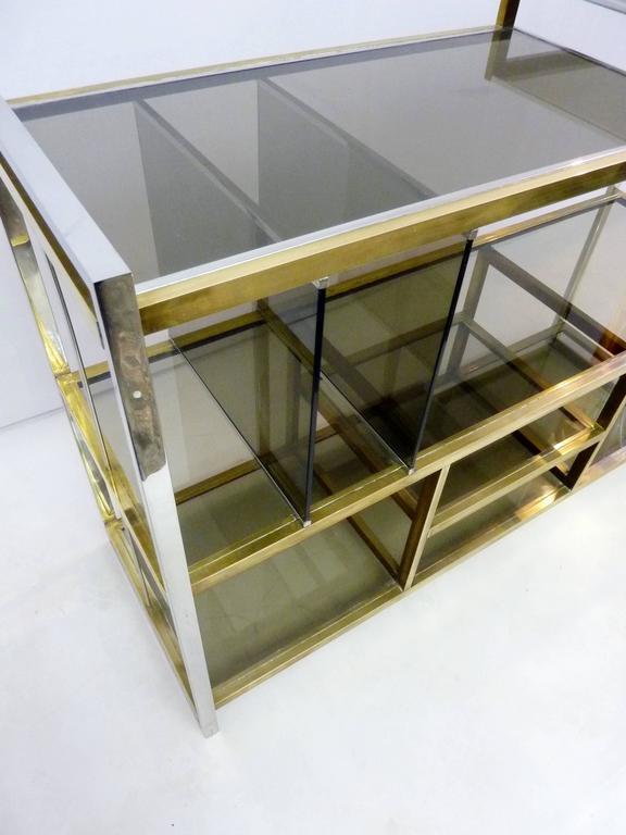 Italian Console in Brass and Chrome by Serantoni & Arcangeli 1