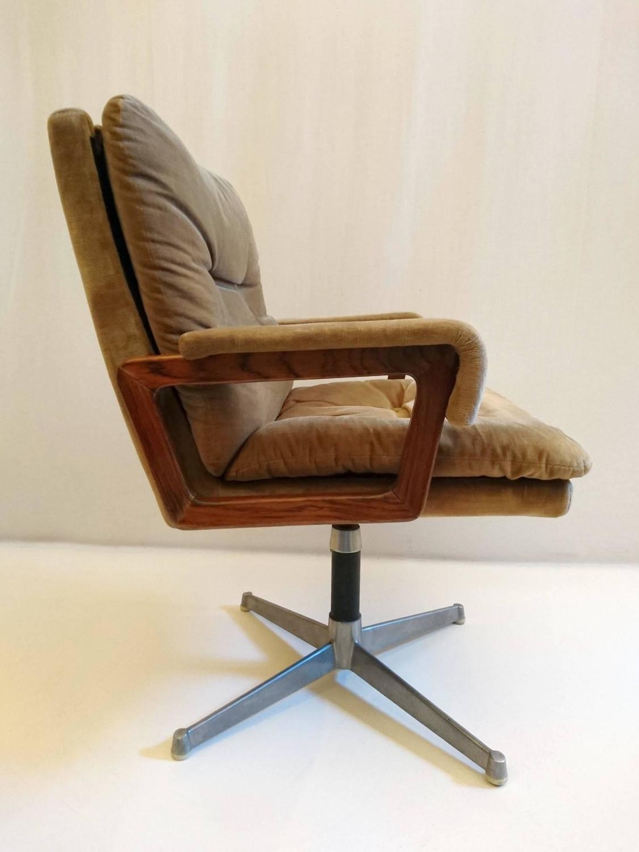 Italian Office Chair In Velvet And Teak For Sale At 1stdibs