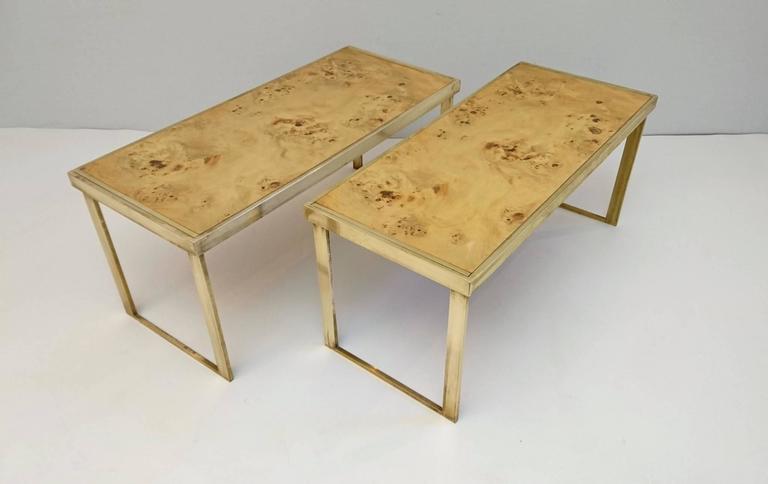 Multipurpose Italian Burl And Brass Shelf Coffee Table Or