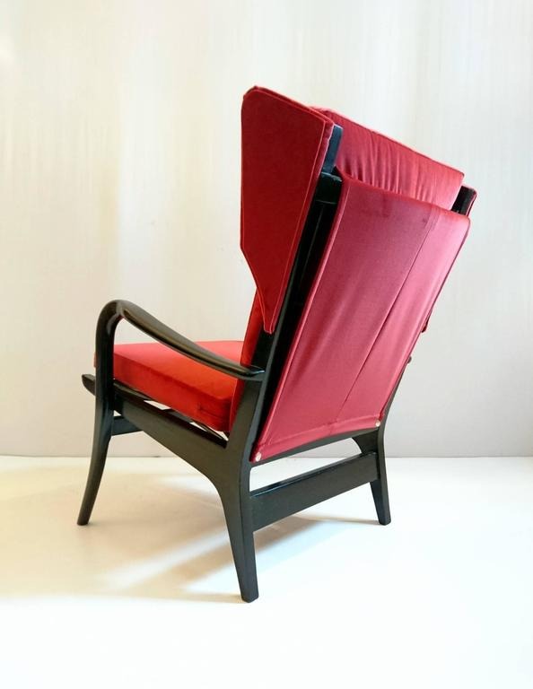 Wingback Armchair In Red Velvet In Excellent Condition For Sale In Albano  Laziale, Rome/
