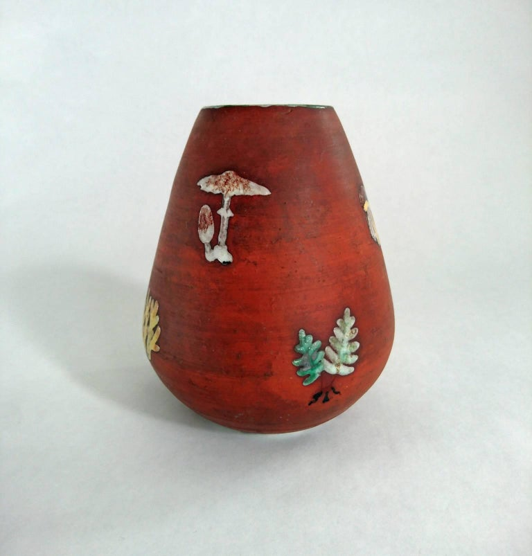 Mid-Century Modern Mid-Century Ceramic Vase with Mushrooms and Ferns, Sweden For Sale