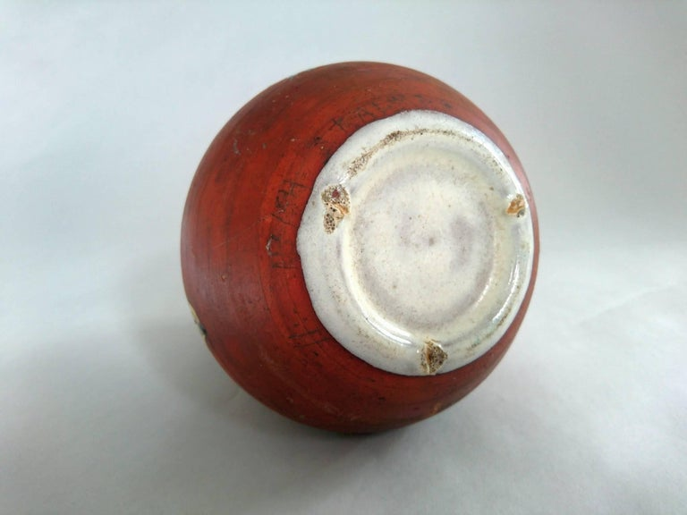 Mid-Century Ceramic Vase with Mushrooms and Ferns, Sweden For Sale 1