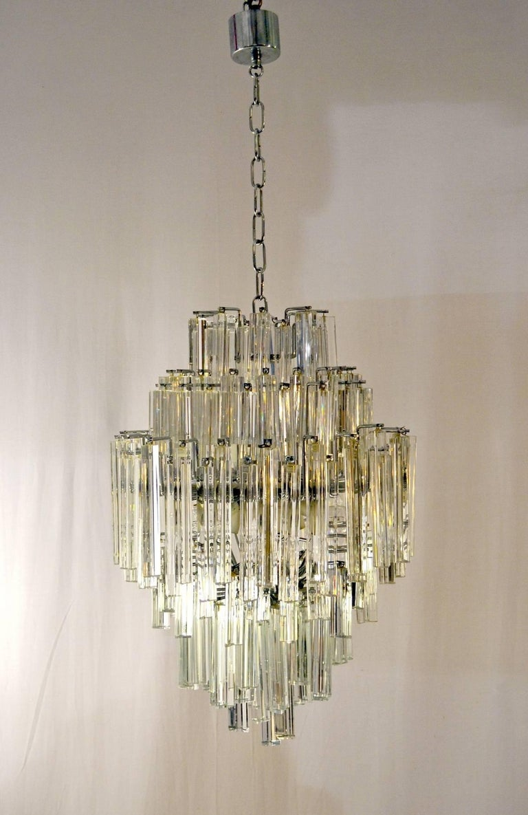 A 170 Piece Crystal So Called Triedri Chandelier Manufactured By Venini Murano The