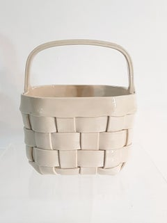 Ivory colored Ceramic Basket Italy 1970´s