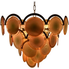 Vistosi Disc Chandelier in Pink, Italy, 1970
