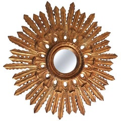 Sunburst Mirror Baroque Style Carved Giltwood Spain