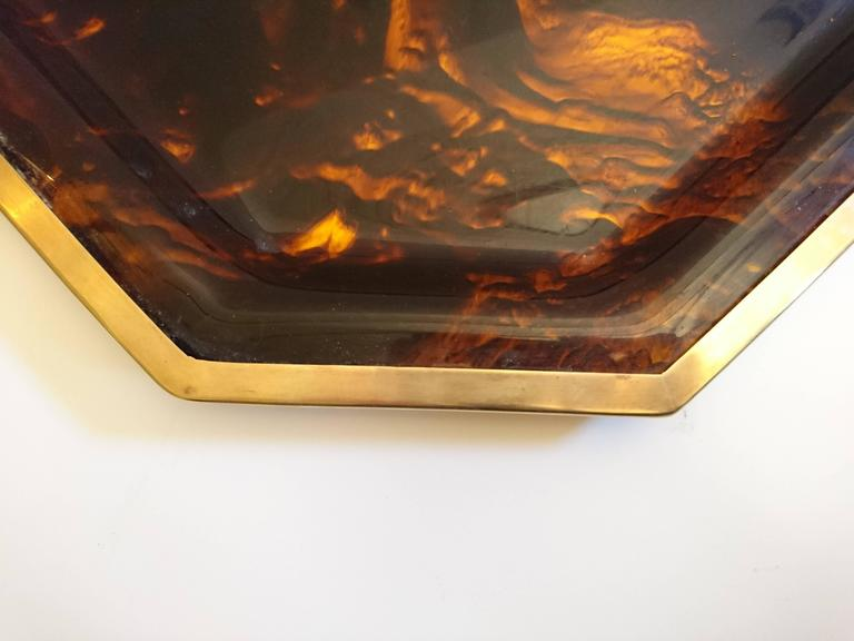 Italian Tray in Tortoise Patterned Plexiglass and Brass For Sale