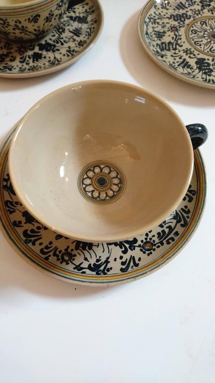Molaroni Pesaro Teapot and Cups Set, Italy, 1930s 2